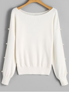Faux Pearl Slit Sleeve Sweater