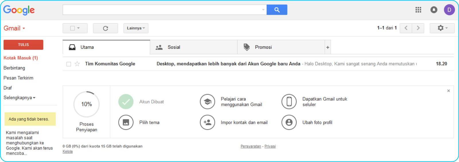 Cara Membuat Akun GMail - Halaman Muka Inbox GMail