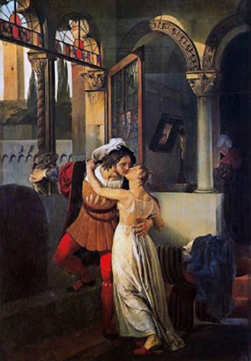 O Último Beijo de Romeu e Julieta, pintura de Francesco Hayes.