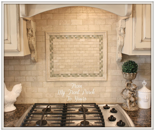 French Farmhouse Kitchen Makeover-French Country Kitchen-Travertine Backsplash- From My Front Porch To Yours