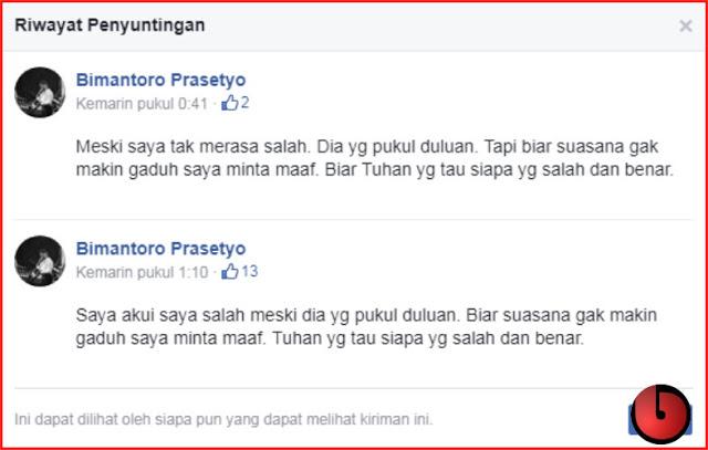 Diserang Netizen karena Merasa tak Bersalah Setelah Pukul TNI, Bimantoro Akhirnya Edit Postingannya