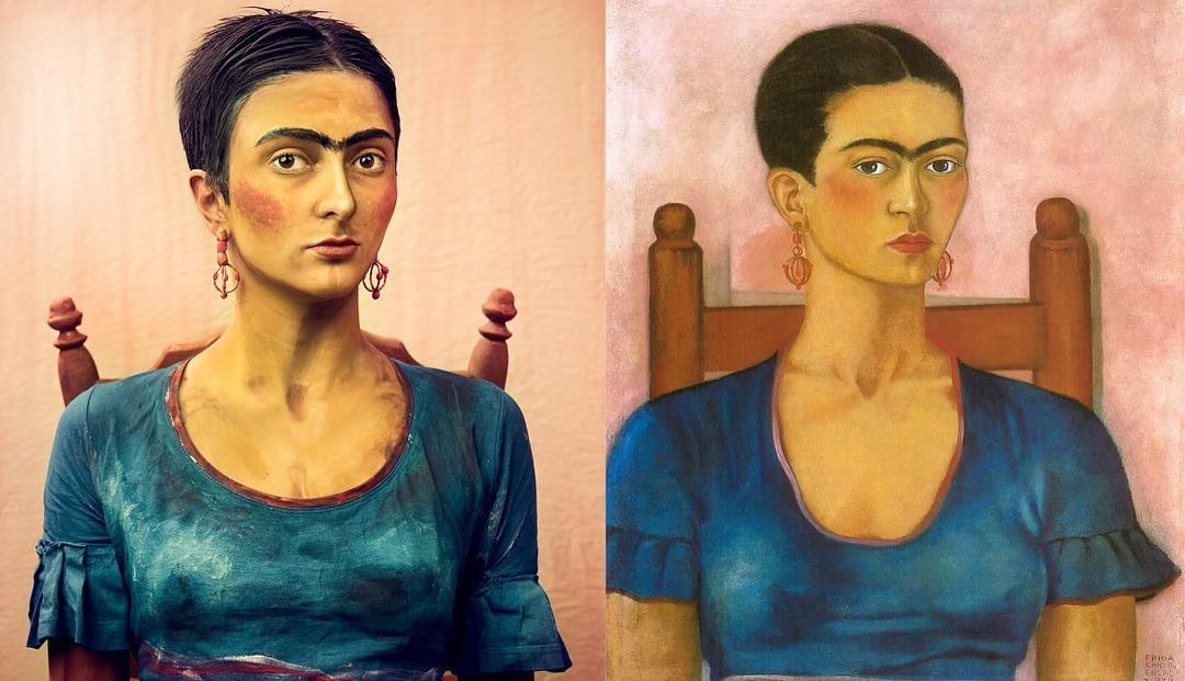 03-Being-Frida-Kahlo-Bella-Grigoryants-Body-Painting-Recreations-of-Famous-Paintings-www-designstack-co