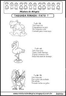 Tabuada rimada e ilustrada fato 7