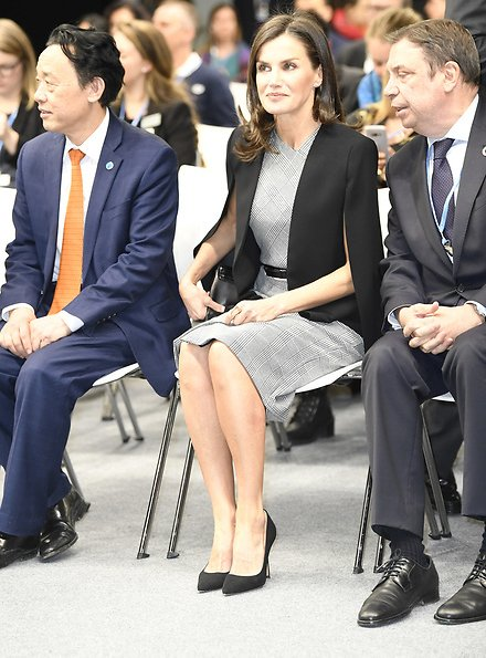 Queen Letizia wore Hugo Boss Dechesta glen check stretch cut cap sleeve sheath dress, and Zara cape style jacket