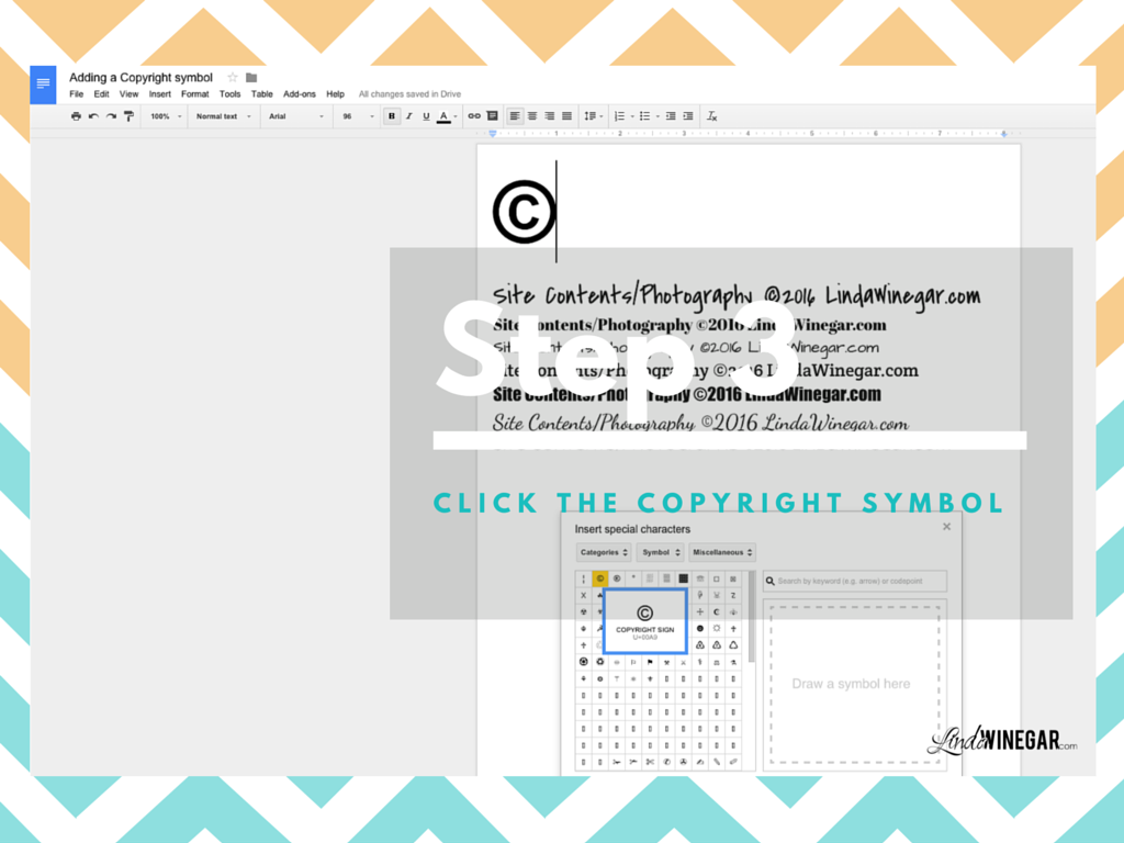 Inserting copyright symbol gallery symbol and sign ideas adding a copyright symbol on google docs linda winegar then select categories symbol and finally select buycottarizona Images