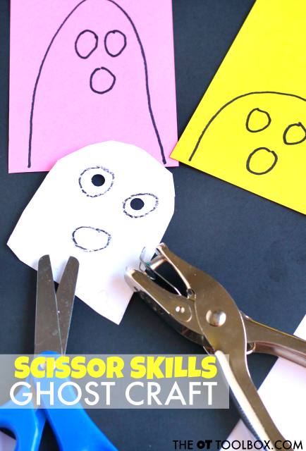 This ghost craft works on scissor skills and fine motor skills needed for cutting with scissors, using a ghost theme for halloween craft ideas in occupational therapy activities.