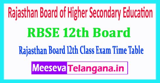 RBSE 12th Rajasthan Board of Higher Secondary Education 12th Class Time Table 2018 Download