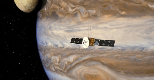 Juice, the JUpiter ICy moons Explorer mission, in the Jovian system. Credit: ESA/AOES