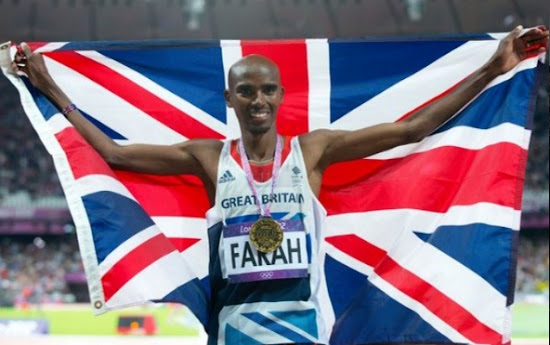 Mo Farah celebrate after winning in London Olympic 2012