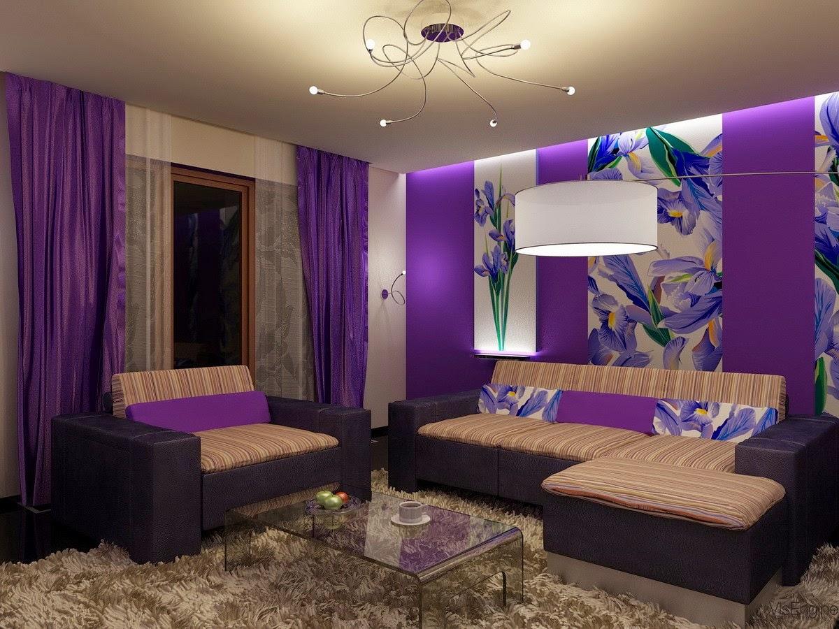 sala en blanco y violeta