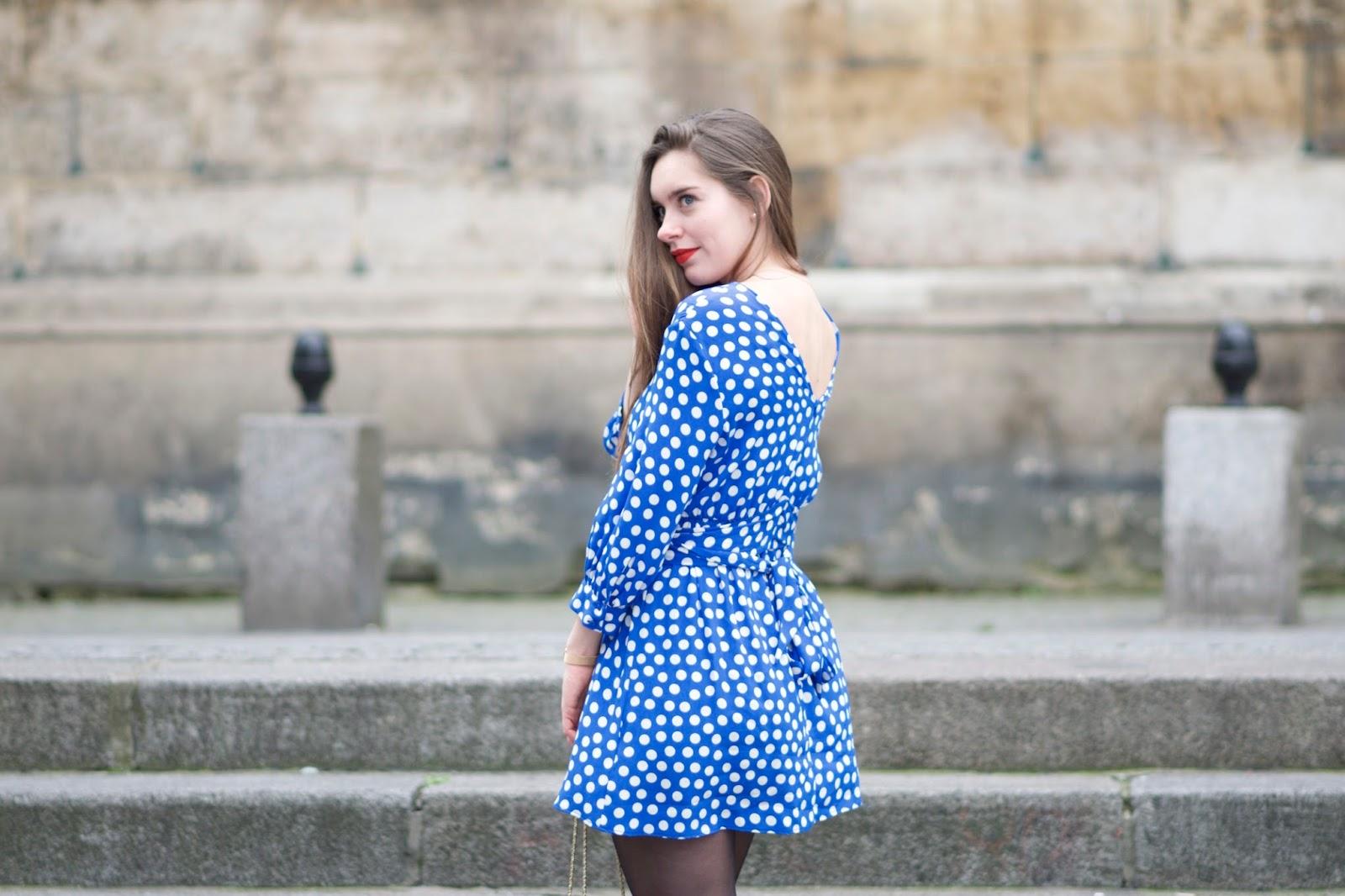 robe bleue à pois Zara 3