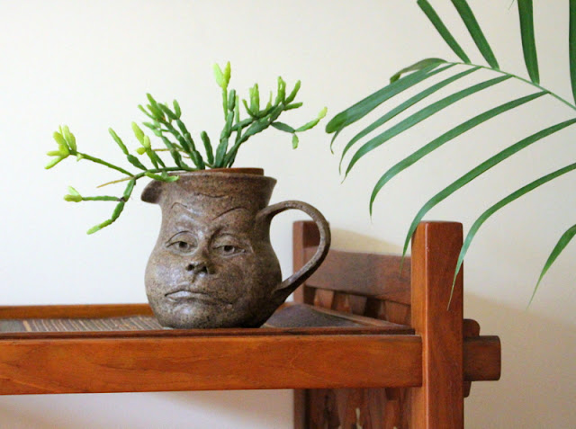 succulent in a pottery face jug on a vintage bar cart