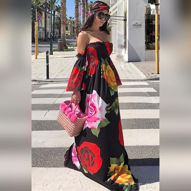Εντυπωσιακό μάξι χρωματιστό φόρεμα IZOLA BLACK