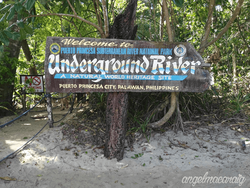 """Welcome to Underground River"" signage"