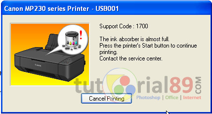 Cara mengatasi ink absorber is almost full printer