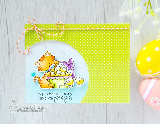 Kitty and chicks Card by Tatiana Trafimovich | Newton's Peeps Stamp Set by Newton's Nook Designs #newtonsnook #handmade