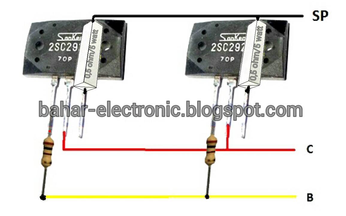 Bahar Electronic Cara Paralel Transistor Final Power Amplifier 200 Watt For Car By 2sc2922 2sa1216 Biar Lebih Jelas Berikut Contoh Pemasangan Pada Tr Sanken