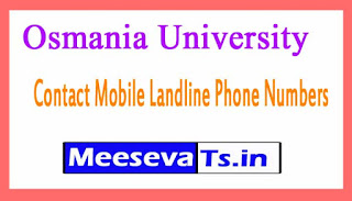 Osmania University Contact Mobile Landline Phone Numbers List