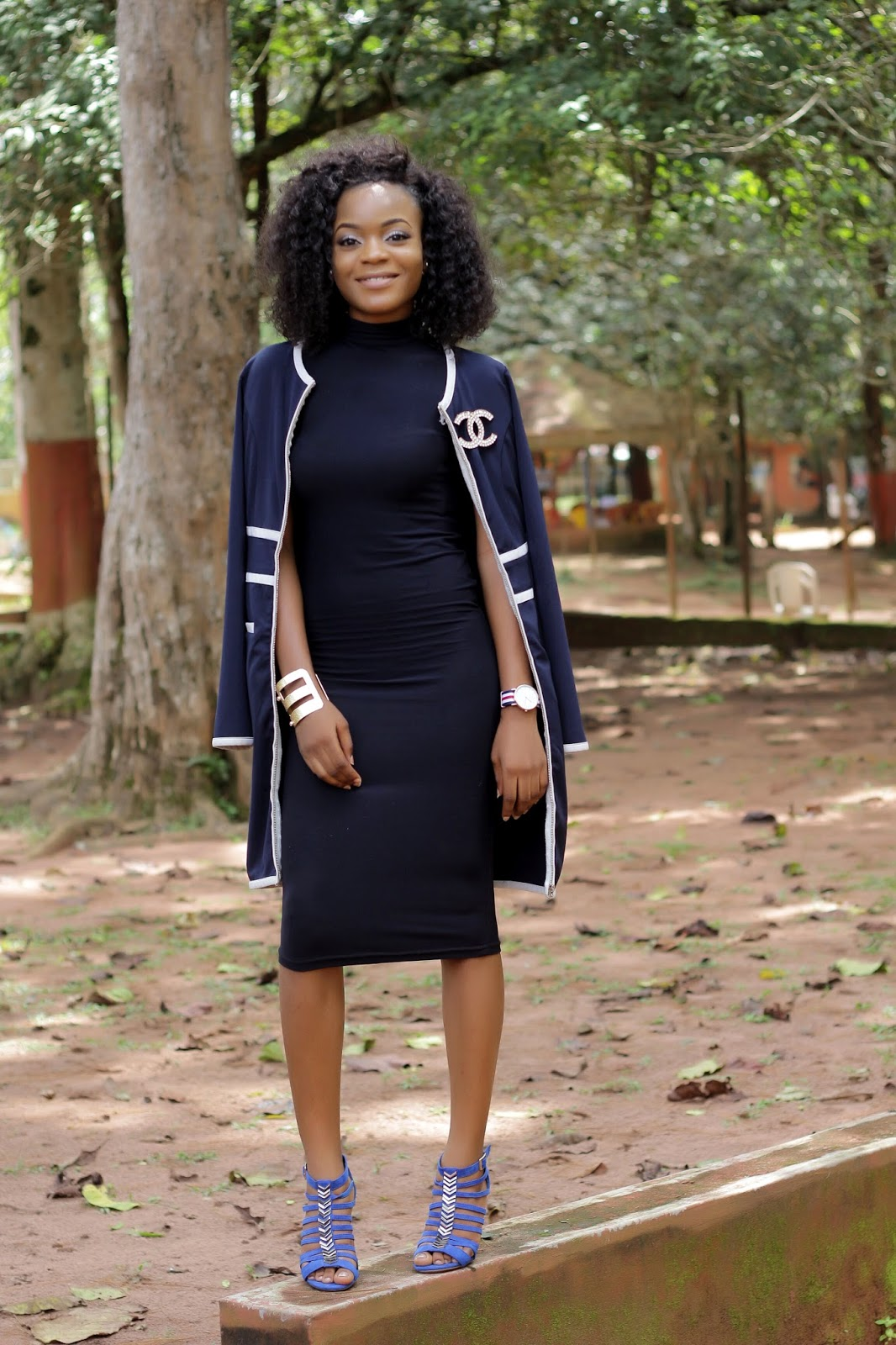 NAVY BLUE ALTER NECK DRESS AND NAVY BLUE JACKET
