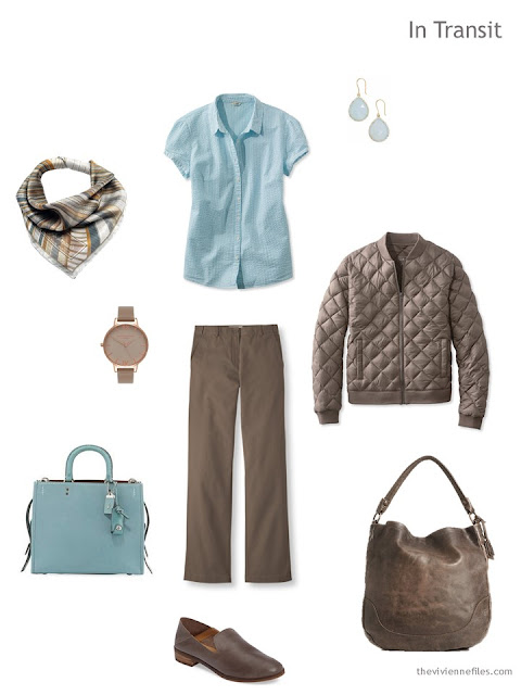 travel outfit in cool brown and aqua
