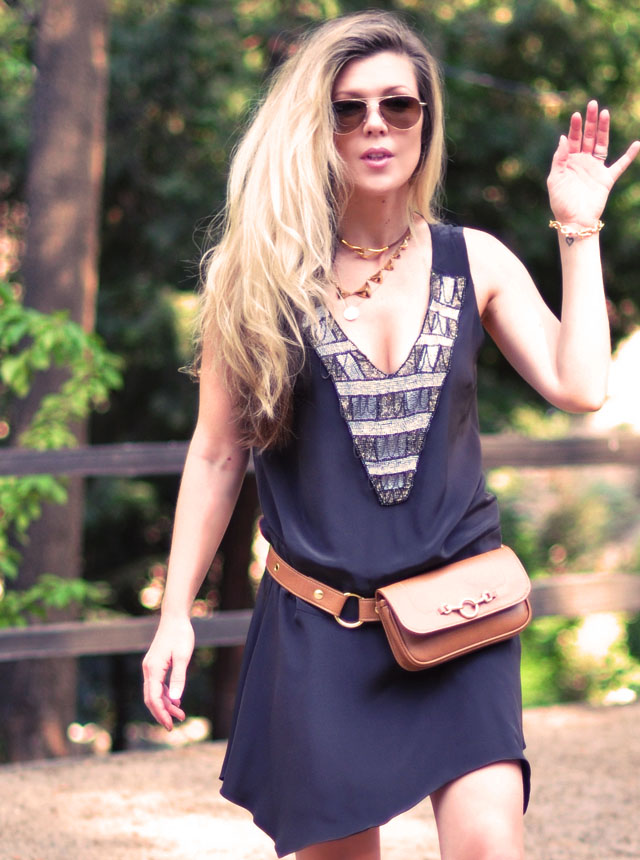 drop waist dress, hip bag fanny pack, bohemian flapper