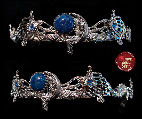 couronne lune bleue blue moon crown mythical wiccan selene hecate goddess