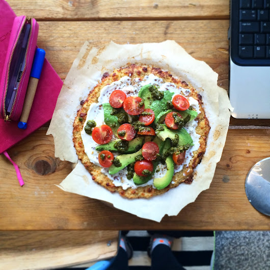 Cauliflower Crust Pizza with Avocado, Crème Fraîche and Herb Oil | The Hackney Pantry