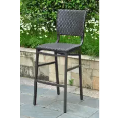 Outdoor Furniture, Wicker Bistro Chairs, Wicker Outdoor Furniture, Barcelona Set of Two Resin Wicker-Aluminum Bar Bistro Chair