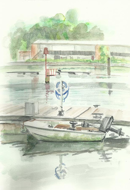east southampton factories across River itchen painting