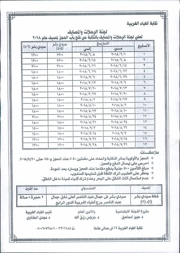 جدول اسعار مصايف نقابة الاطباء الغربية 2018 - الحجز