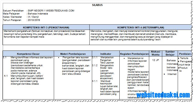Silabus Bahasa Indonesia Kelas 9 Smp Mts K13 Revisi 2018 Websiteedukasi Com