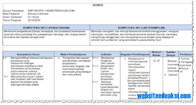 Silabus Bahasa Indonesia Kelas 9 SMP/MTs K13 Revisi 2018