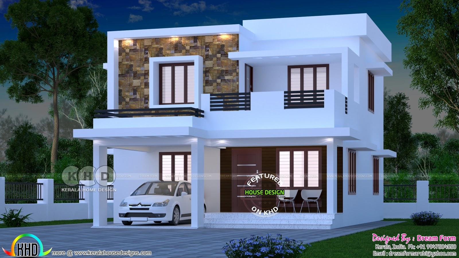 1700 Square Feet Flat Roof 3 Bhk Home Plan Kerala Home