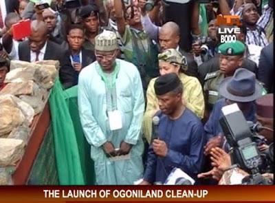 Vice President Yemi Osinbajo representing President Buhari flags off the Niger delta Ogoni land clean up