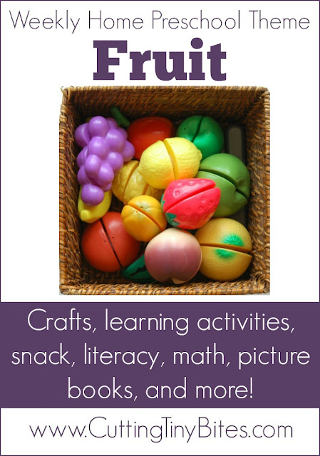 Fruit theme- weekly home preschool.  Gross motor, fine motor, crafts, book list, field trip, and more!  Perfect amount of activities for EASY week of homeschool pre-K.