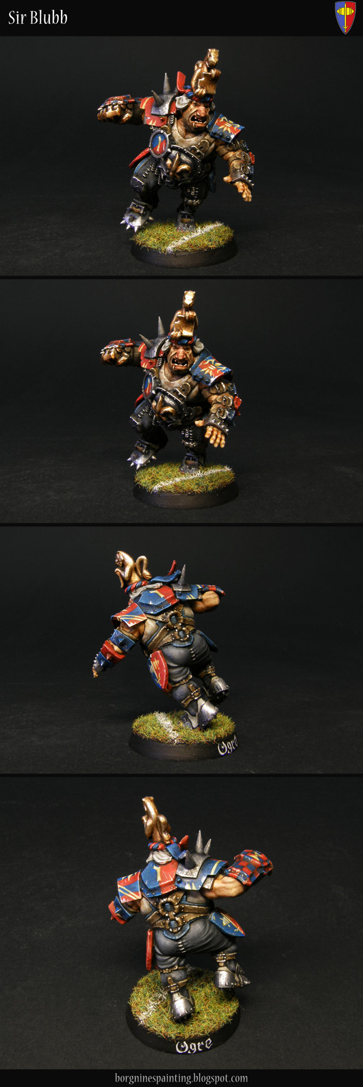 A Blood Bowl Ogre miniature converted and painted to fit in a Bretonnia-themed team - with an elaborate headcrest, a golden fleur-de-lys on his gutplate and shields bearing the heraldry of his team on the hips - visible from several angles.