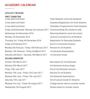 FUPRE Academic Calendar for 2016/2017 Session