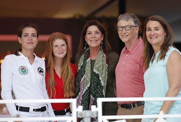 Princess Caroline of Hanover, Charlotte Casiraghi, Bill Gates and Melinda Gates attended the International of Monaco horse jumping competition