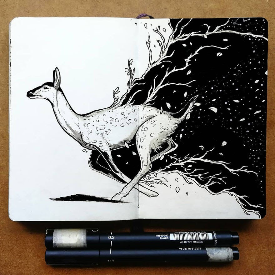 02-Roots-Gazelle-Bráulio-Monteiro-Moleskine-Pen-and-Ink-Animal-Illustrations-www-designstack-co