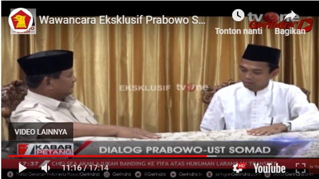 Dialog dengan Prabowo, UAS Ungkap Ada Ustadz Mimpi 5 Kali Sebut-sebut Prabowo
