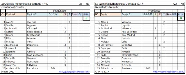 1 Millón en #LaQuiniela, la mejor liga de fútbol del mundo: en España. juega YA!.  Probabilidades para jornada 17: 29 de octubre de 2017