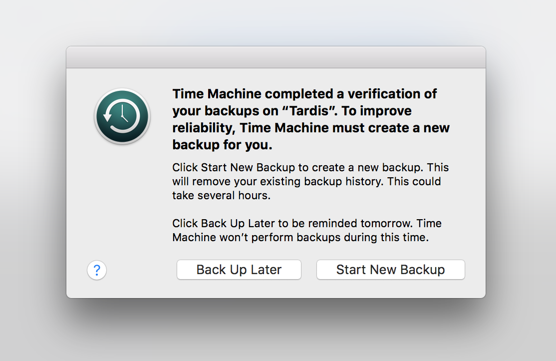 Cosa fare se il backup su Time Machine fallisce