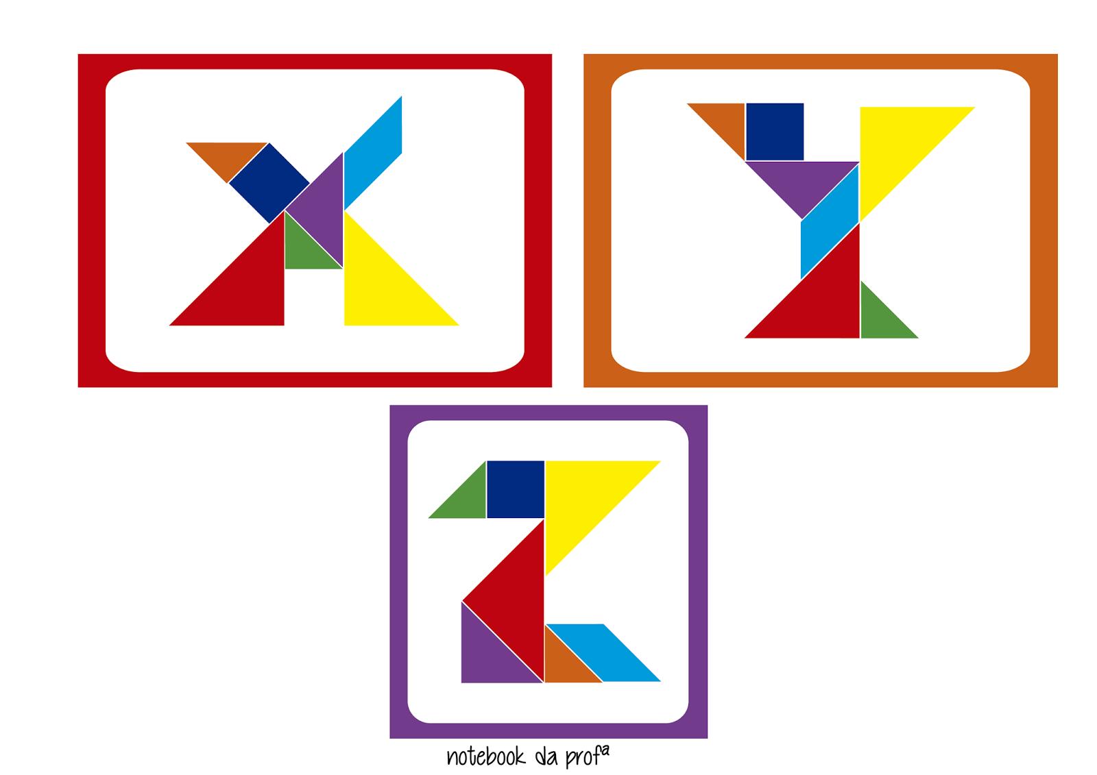 cards de letras com tangram  u2014 s u00d3 escola