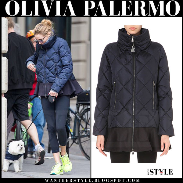 Olivia Palermo in blue quilted peplum flounce hem moncler vouglans jacket and lime sneakers walking her dog what she wore