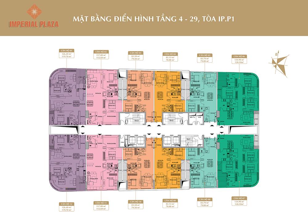 Mặt bằng tầng điện hình 4 - 29 Imperial Plaza