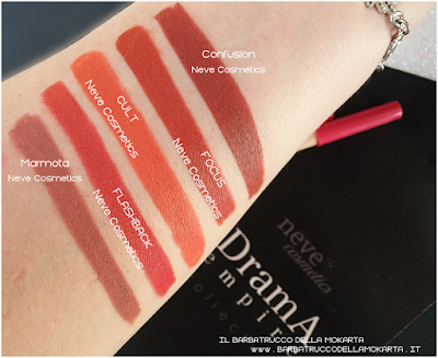 comparazione CULT makeup Bio Pastello Labbra drama empire collection neve cosmetics