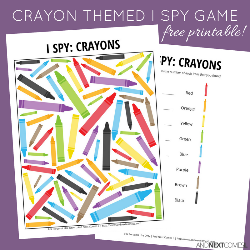 photograph regarding Crayon Printable named Crayon Themed I Spy Match Cost-free Printable for Youngsters And