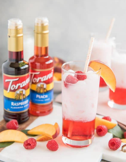 RASPBERRY PEACH ITALIAN CREAM SODAS #raspberry #drink