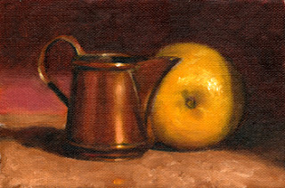 Oil painting of a small copper jug beside a lemon in front of a red background.