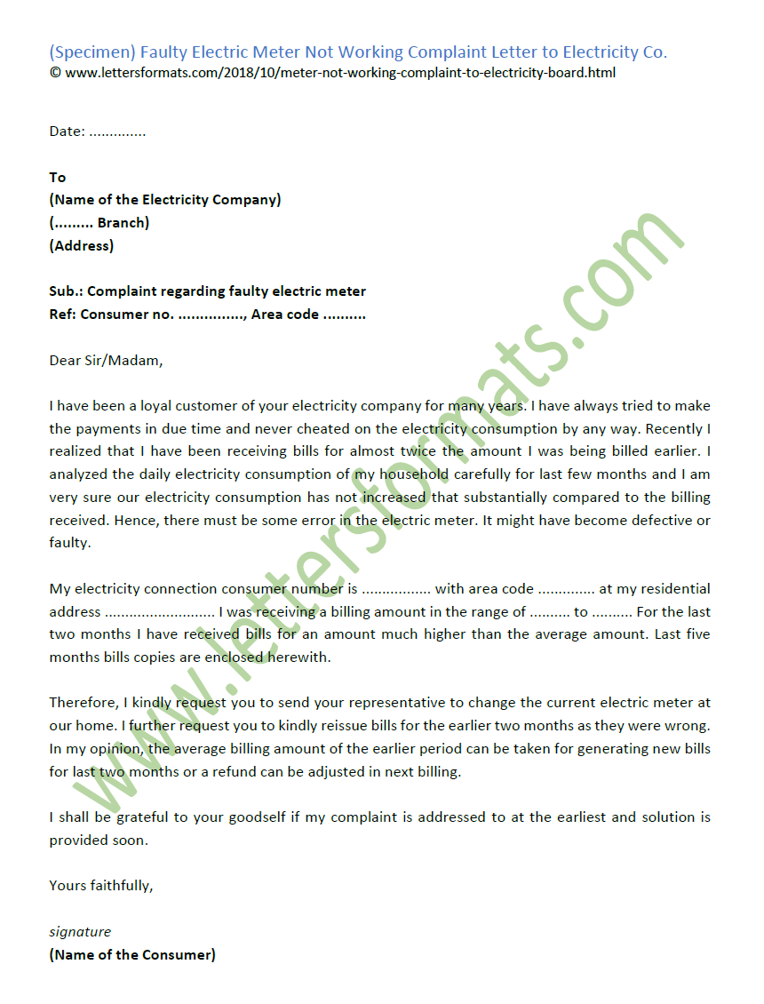 Faulty Electric Meter Not Working Complaint Letter to Electricity Co
